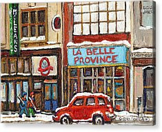 Mcleans Irish Pub Montreal Acrylic Print by Carole Spandau