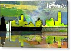 Melbourne Australia Skyline Watercolor Acrylic Print by Marvin Blaine