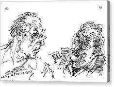 Men Talking Acrylic Print by Ylli Haruni