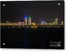 Millionaire's Row Miami Beach Skyline Acrylic Print by Rene Triay Photography