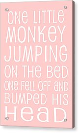 Monkey Jumping On The Bed Acrylic Print by Jaime Friedman