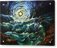 Moon And Waves Acrylic Print by Laila Awad Jamaleldin