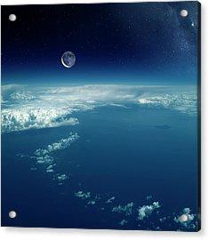 Moon Over The Earth Acrylic Print by Detlev Van Ravenswaay