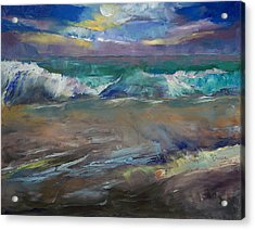 Moonlit Waves Acrylic Print by Michael Creese