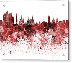 Moscow Skyline White Background Acrylic Print by Pablo Romero