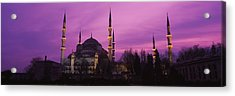 Mosque Lit Up At Dusk, Blue Mosque Acrylic Print by Panoramic Images