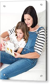 Mother Reading Book With Daughter Acrylic Print by Lea Paterson