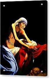 Mother Teresa Seated Nude Acrylic Print by Karine Percheron-Daniels