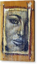 Mysterious Girl Face Portrait - Painting On The Wood Acrylic Print by Nenad Cerovic