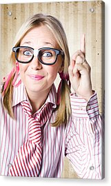 Nerd Female Salesman Pointing To Product Copyspace Acrylic Print by Jorgo Photography - Wall Art Gallery