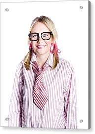 Nerdy Young Business Person Acrylic Print by Jorgo Photography - Wall Art Gallery