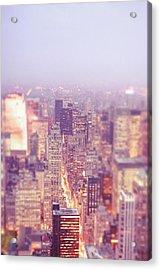 New York City - Skyline Lights At Dusk Acrylic Print by Vivienne Gucwa