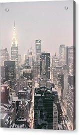 New York City - Snow Covered Skyline Acrylic Print by Vivienne Gucwa