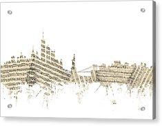 Philadelphia Pennsylvania Skyline Sheet Music Cityscape Acrylic Print by Michael Tompsett