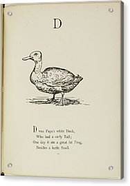 Nonsense Alphabets By Edward Lear Acrylic Print by British Library