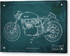 Norton Cafe Racer Blueprint Acrylic Print by Pablo Franchi
