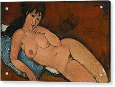 Nude On A Blue Cushion Acrylic Print by Amedeo Modigliani