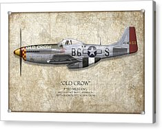 Old Crow P-51 Mustang - Map Background Acrylic Print by Craig Tinder