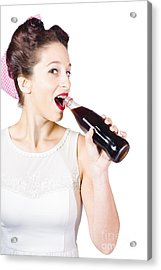 Old-fashion Pop Art Girl Drinking From Soda Bottle Acrylic Print by Jorgo Photography - Wall Art Gallery
