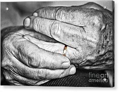 Old Hands With Wedding Band Acrylic Print by Elena Elisseeva