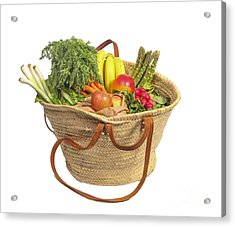 Organic Fruit And Vegetables In Shopping Bag Acrylic Print by Patricia Hofmeester