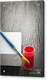 Paintbrush On Canvas Acrylic Print by Elena Elisseeva