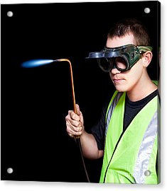 Panelbeater In Safety Goggles Acrylic Print by Jorgo Photography - Wall Art Gallery