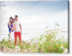 Parents On Beach With Daughter Acrylic Print by Ian Hooton