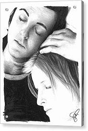 Paul And Linda Mccartney Acrylic Print by Rosalinda Markle
