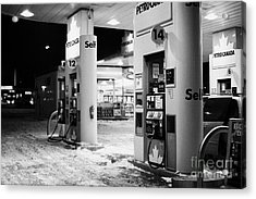 petro canada winter gas fuel pump at service station Regina Saskatchewan Canada Acrylic Print by Joe Fox