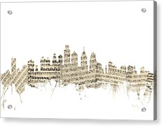 Philadelphia Pennsylvania Skyline Sheet Music Cityscape Acrylic Print by Michael Tompsett
