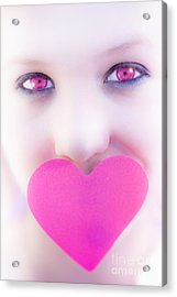 Pink Eyed Woman And Love Heart Acrylic Print by Jorgo Photography - Wall Art Gallery