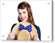 Pinup Girl With Straw Hat Acrylic Print by Jorgo Photography - Wall Art Gallery