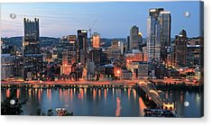 Pittsburgh At Dusk Acrylic Print by Frozen in Time Fine Art Photography