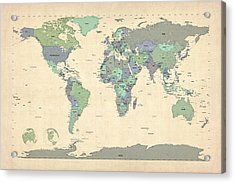 Political Map Of The World Map Acrylic Print by Michael Tompsett