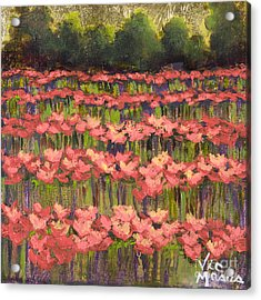Poppy Field With Gold Leaf By Vic Mastis Acrylic Print by Vic  Mastis