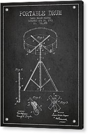 Portable Drum Patent Drawing From 1903 - Dark Acrylic Print by Aged Pixel