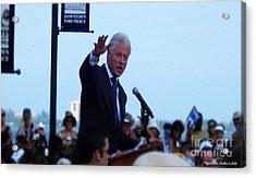 President Clinton In Fort Pierce Acrylic Print by Megan Dirsa-DuBois