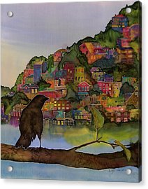 Raven And The Village  Acrylic Print by Carolyn Doe