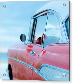 Red Chevy '57 Bel Air At The Beach Square Acrylic Print by Edward Fielding