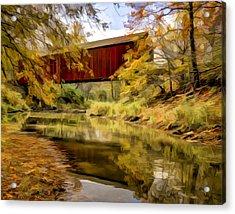 Red Covered Bridge Acrylic Print by Jeff Burton