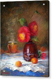 Red Flowers Acrylic Print by Nancy Stutes
