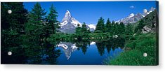 Reflection Of A Snow Covered Mountain Acrylic Print by Panoramic Images