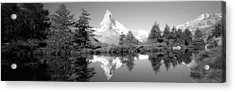 Reflection Of Trees And Mountain Acrylic Print by Panoramic Images