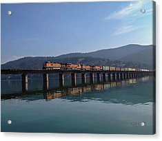 Reflection On Trains Acrylic Print by Rick Colby