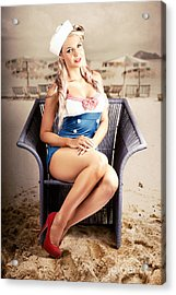 Retro Blond Beach Pinup Model With Elegant Look Acrylic Print by Jorgo Photography - Wall Art Gallery