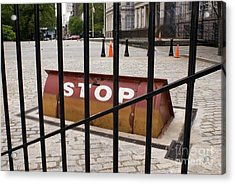Road Blocker At New York City Hall Acrylic Print by Mark Williamson