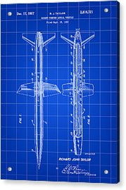 Rocket Patent 1953 - Blue Acrylic Print by Stephen Younts