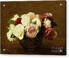 Roses Acrylic Print by Ignace Henri Jean Fantin-Latour