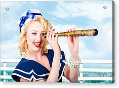 Sailor Girl Pin-up Looking Through Telescope Acrylic Print by Jorgo Photography - Wall Art Gallery